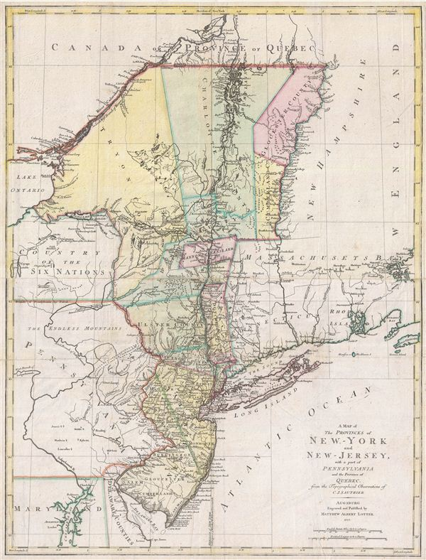 A Map of The Provinces of New-York and New-Jersey, with a part of Pennsylvania and the Province of Quebec from the Topographical Observations of C. J. Sauthier.
