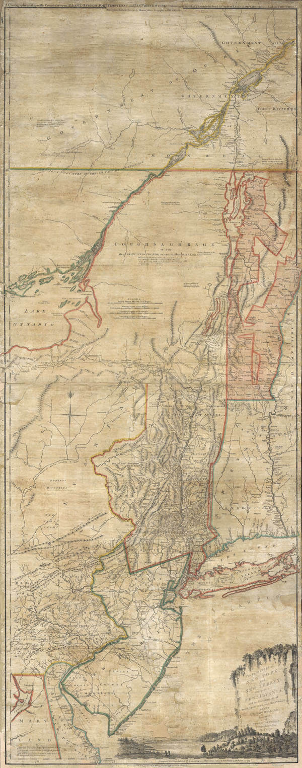 The Provinces of NEW YORK and NEW JERSEY with part of PENSILVANIA, and  the Governments of TROIS RIVIERES, and MONTREAL: drawn by Capt. Holland. / A Chorographical Map of the Country between Albany, Oswego, Fort Frontenac, and Les Trois Rivieres; Exhibing all the Grands made by the French Governors  on Lake Champlain; & between that Lake & Montreal. - Main View