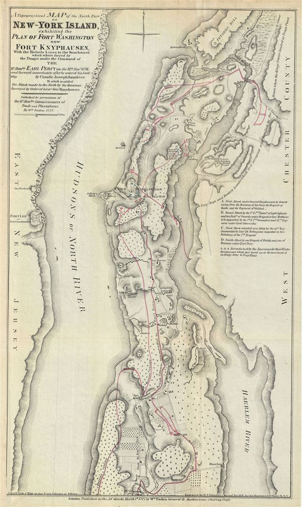 A Topographical Map of the North Part of New-York Island, exhibiting the Plan of Fort Washington, now Fort Knyphausen, With the Rebels Lines to the Southward, which were forced by the Troops under the Command of the Rt. Honble. Earl Percy on the 16th Novr. 1776, and Survey'd immediately after by order of his Lordship. By Claude Joseph Sauthier.