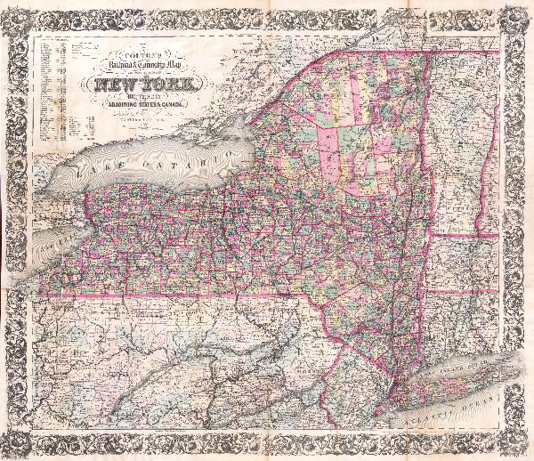 Colton's Railroad & Township Map of the State of New York with Parts of the Adjoining States & Canada.