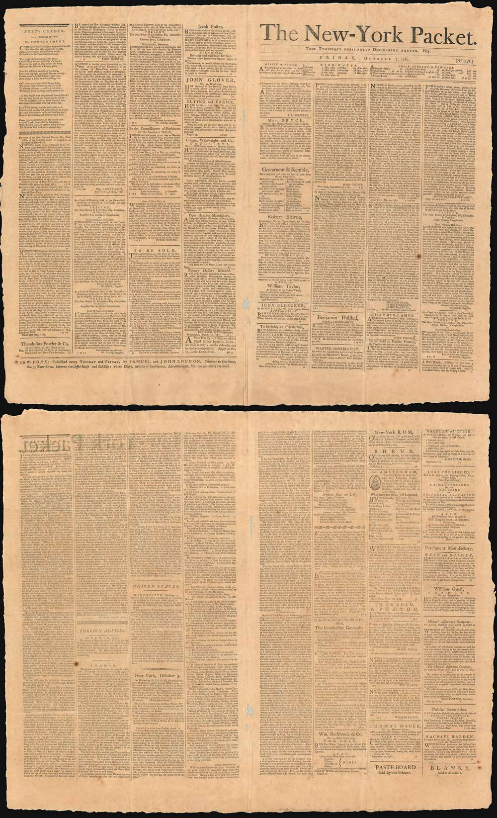 The New-York Packet. Friday, October 5, 1787. - Main View