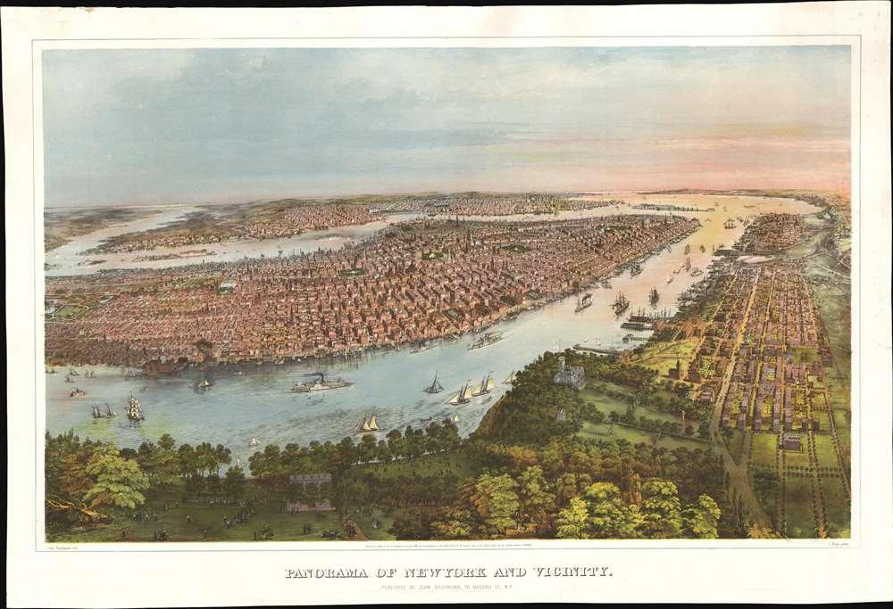 1866 Bachmann Chromolithograph View of New York City w/Elysian Fields
