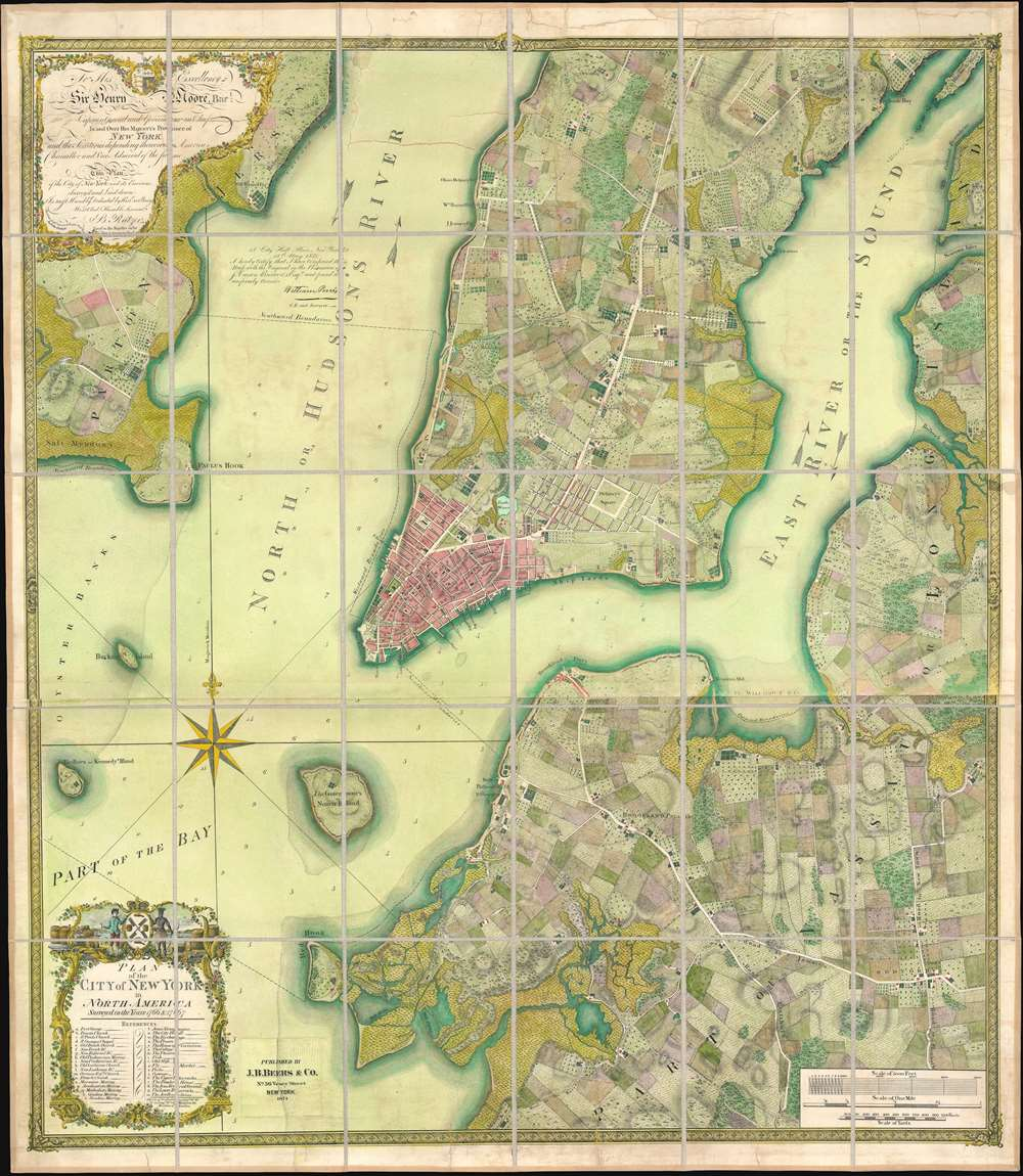 To his excellency Sr. Henry Moore, bart., captain general and governour in chief, in and over his majesty's province of New York and the territories depending thereon in America, chancellor and vice admiral of the same : This plan of the city of New York and its environs, survey'd and laid down ; is most humbly dedicated by his excellency's most obedt. humble servant B. Ratzer. - Main View