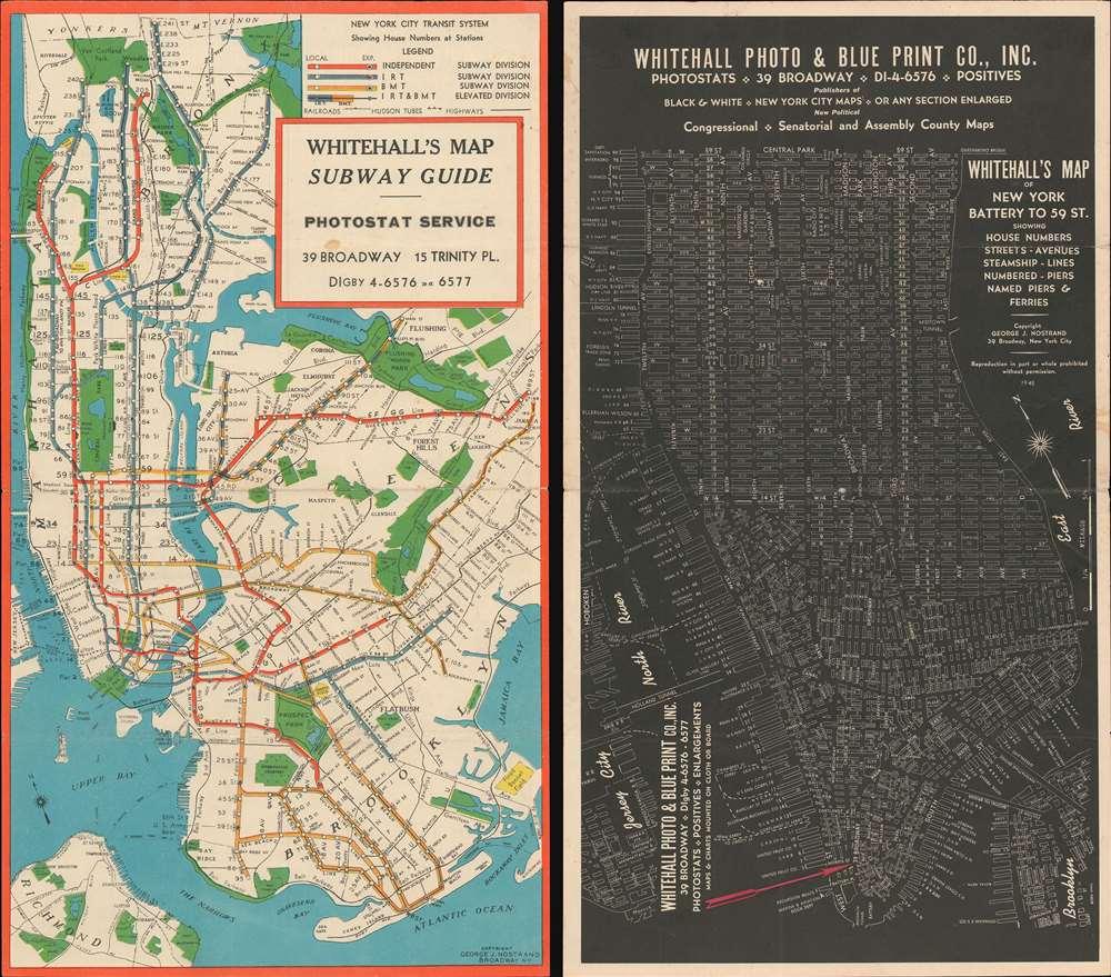 1945 Nostrand Subway Map of New York City