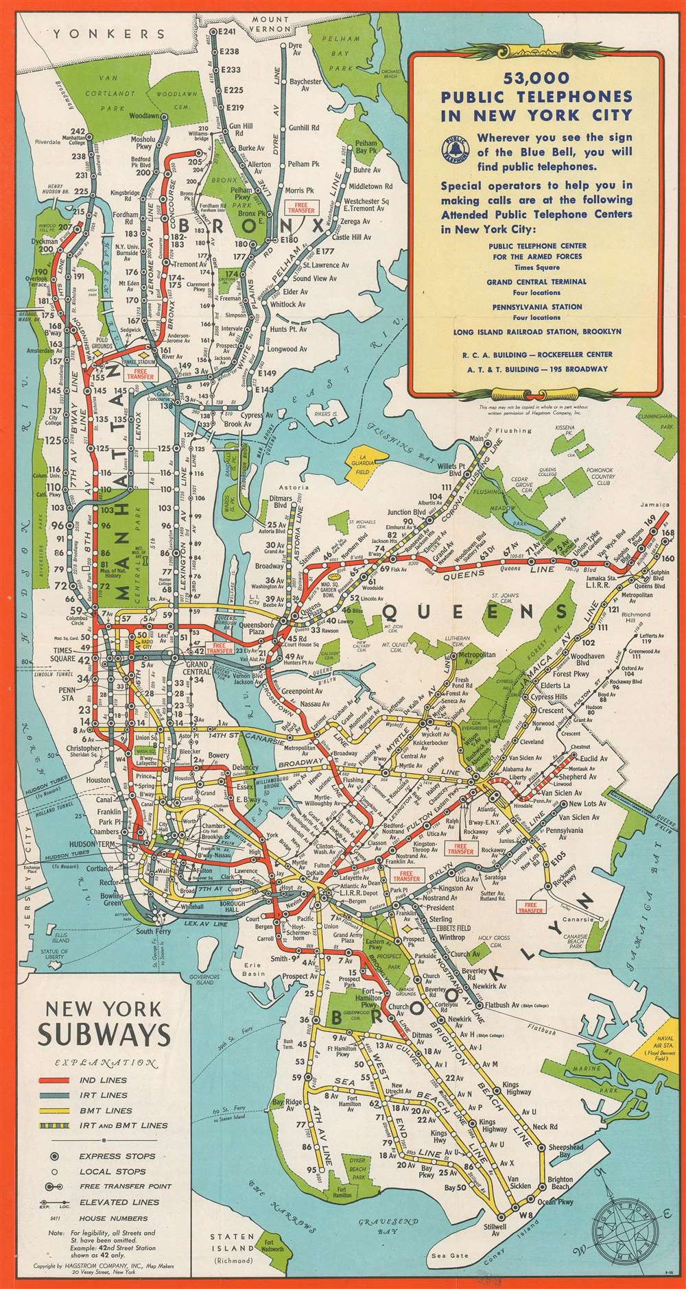 1944 Hagstrom Map of New York City Subway Lines for Military Personnel