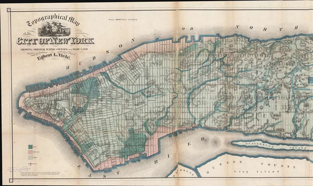 Topographical Map of the City of New York Showing Original Water Courses and Made Land. - Alternate View 2