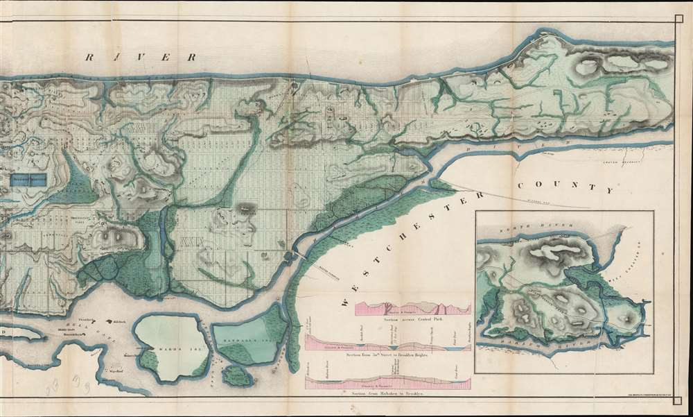 Topographical Map of the City of New York Showing Original Water Courses and Made Land. - Alternate View 3
