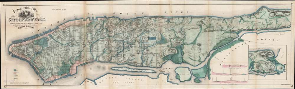 Topographical Map of the City of New York Showing Original Water Courses and Made Land. - Main View