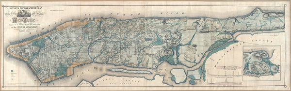 Sanitary & Topographical Map of the City and Island of New York Prepared for the Council  of Hygene & Public Health, of the Citizens' Association under the direciton of Egbert L. Viele, Topographical Engineer.