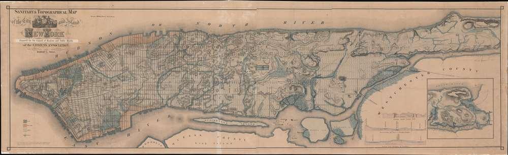 Sanitary and Topographical Map of the City and Island of New York. Prepared for the Council of Hygiene and Public Health of the Citizens Association. - Main View