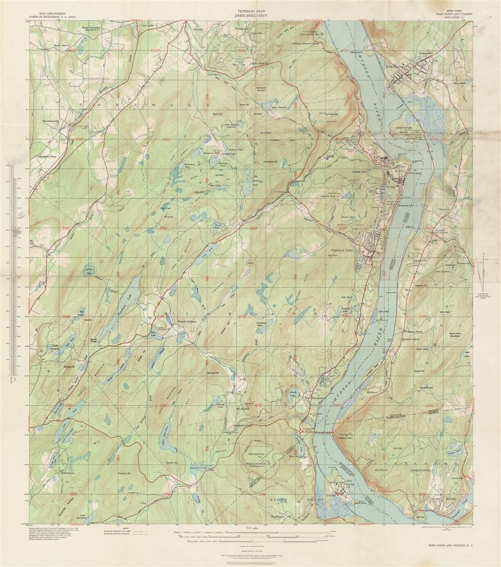 Terrain Map. New York West Point and Vicinity.