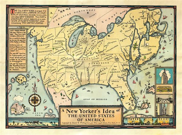 Us Map According To New Yorkers.A New Yorker S Idea Of The United States Of America Geographicus