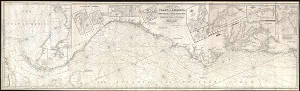1850 Norie Blueblack Chart or Map of American Coast: New York to Florida