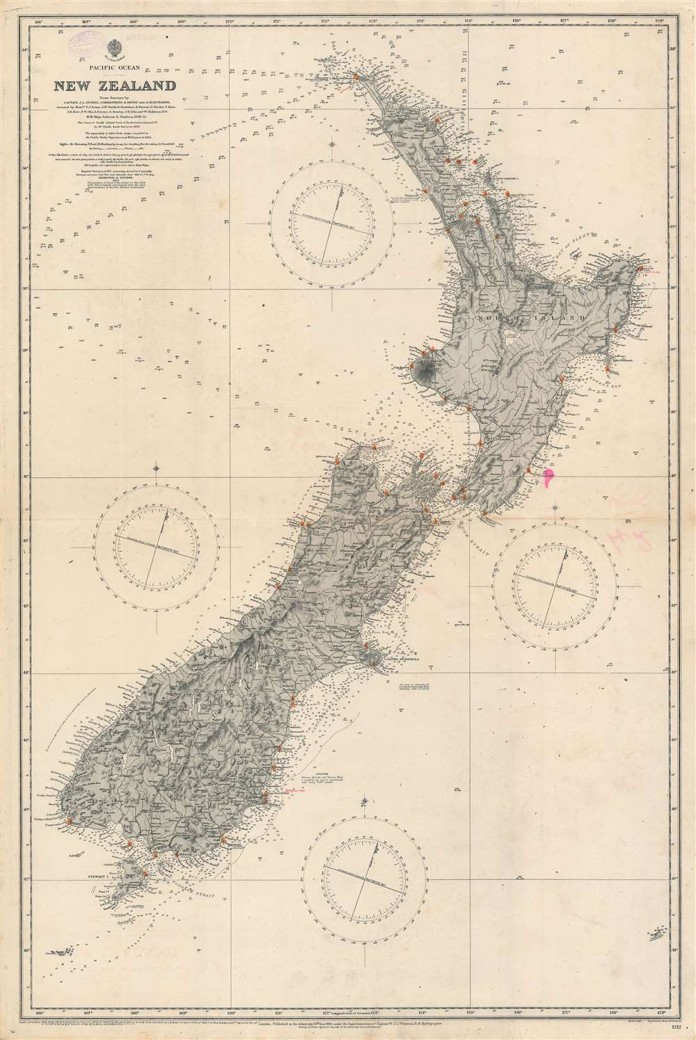Pacific Ocean. Nea Zealand From Surveys by Captain J. L. Stokes, Commanders B. Drury and G. H. Richards... - Main View