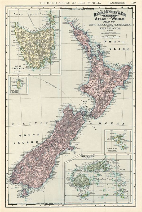 Map of New Zealand, Tasmania, and the Fiji Islands.