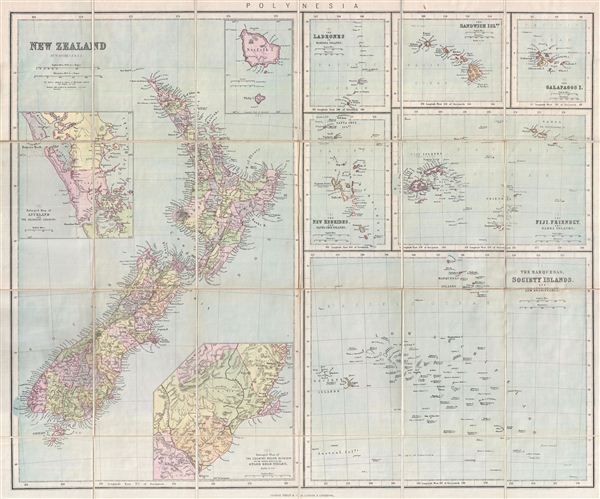 Philips Authentic Map of New Zealand Mounted on Cloth.