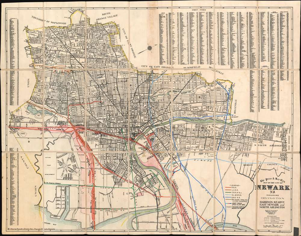 The Price and Lee Co's Map of the City of Neward N.J. including Irvington Harrison, Kearny, East Neward and North Arlington - Main View