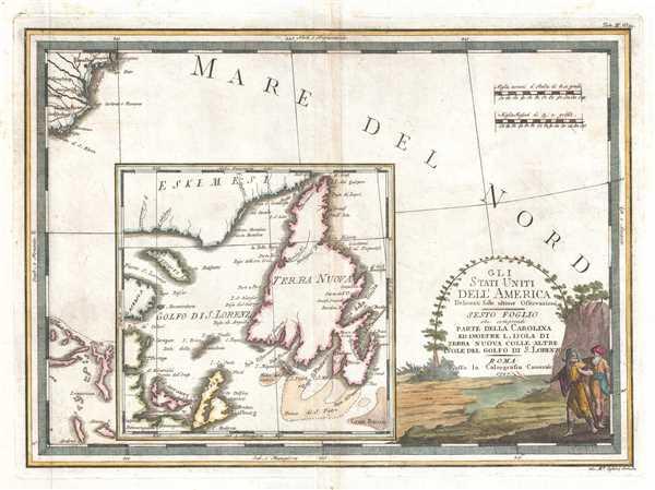 Gli Stati Uniti dell' America delineati sulle ultime Osservazioni, Sesto Foglio che comprende parte della Carolina ed inoltre l'Isola di Terra Nuova colle altre isole del Golfo di S. Lorenzo.