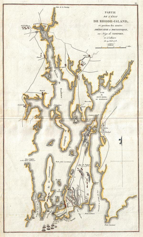 Partie de L'Etat de Rhode-Island et Position des Armees Americaine et Britannique, au Siege de Newport, et a l'affaire de 29 Aout 1778.