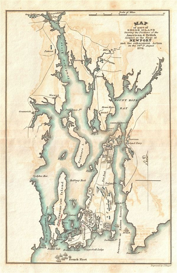 Map of part of Rhode Island Shewing the Positions of the American & British Armies at the Seige of Newport and the subsequent Action on the 29th of August 1778. - Main View