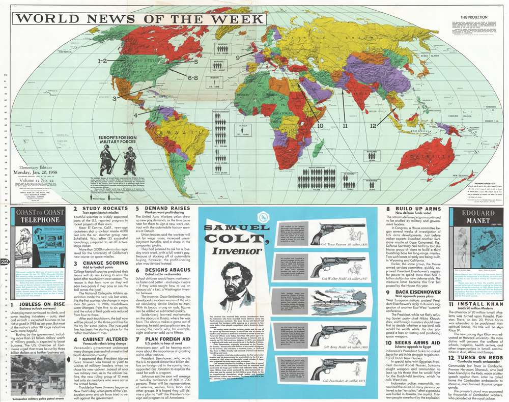 1958 News Map of the Week Map of the World