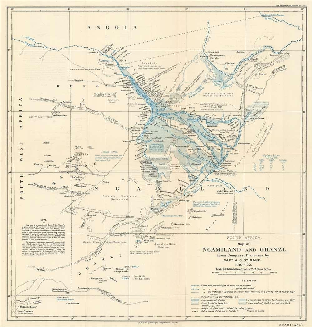1923 Stigand Map of North-West District or Ngamiland, Botswana - Okavango Delta