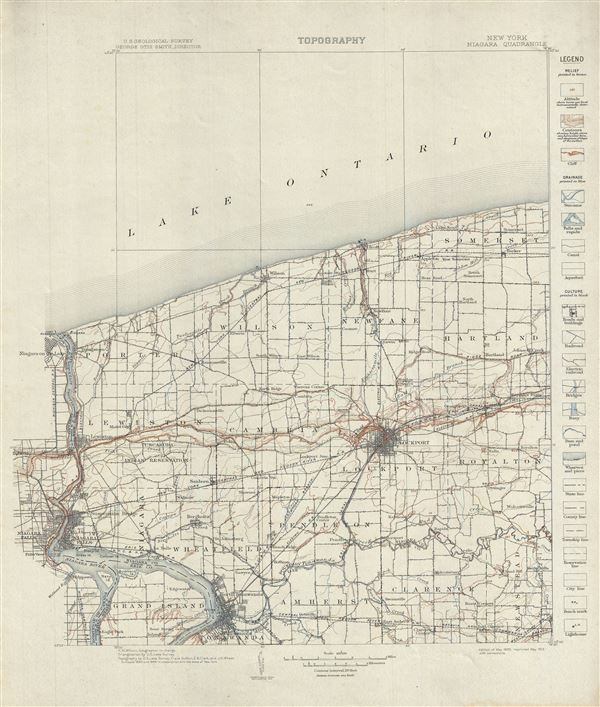 New York. Niagara Quadrangle. Topography.: Geographicus Rare Antique ...