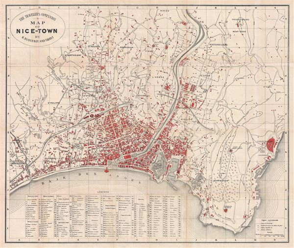 The Traveller's Companion Map of Nice-Town by R. Duquenoy and Foiret. - Main View
