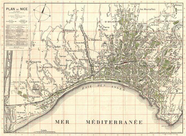 Plan de la Ville De Nice avec nomenclature des principales Rues, Places, Avenues, etc. Edite par le syndicat d'Initiative de Nice et de la Cote d'Azur