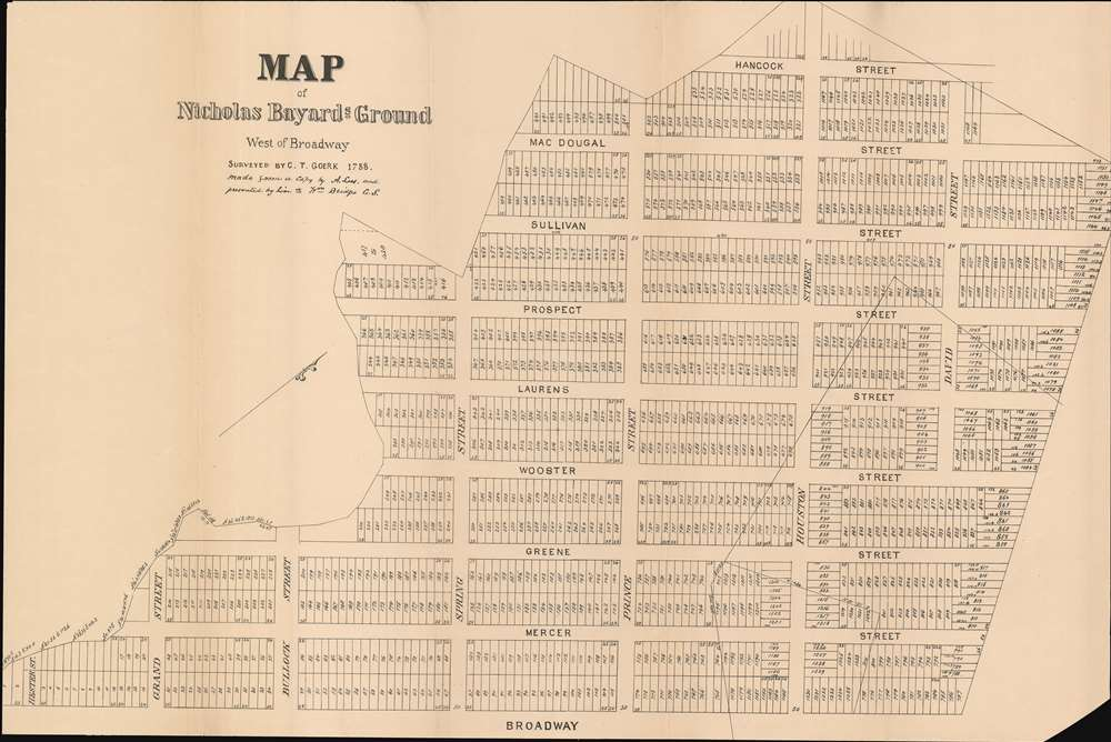 Map of Nicholas Bayard's Ground West of Broadway.