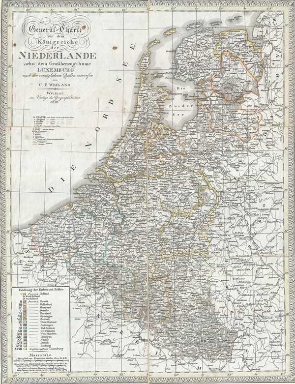 General-Charte von dem Koonigreiche der Niederlande nebst dem Grossherzogthume Luxemburg. - Main View
