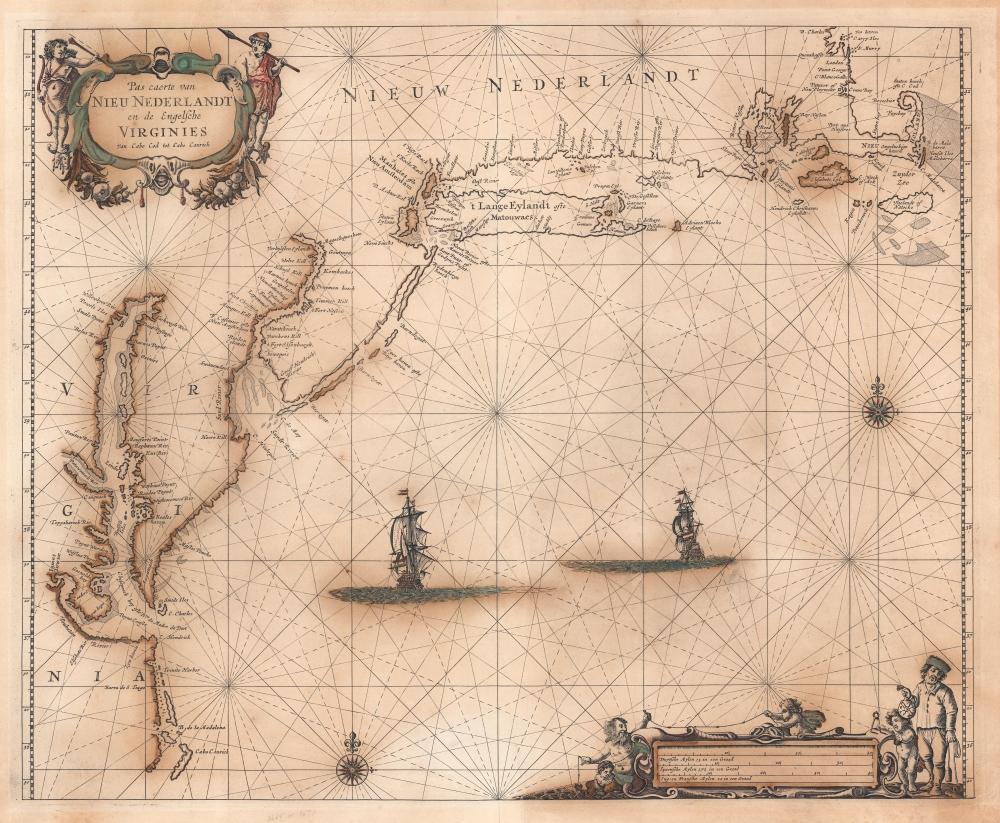 Pas Caerte van Nieu Nederlandt en de Engelsche Virginies van Capo Cod to Cabo Canrick. - Main View