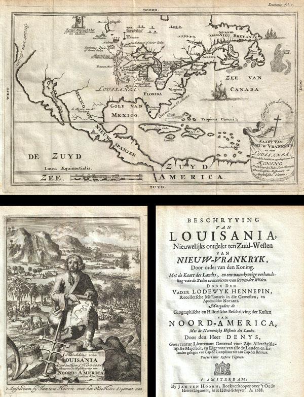 Kaart van Nieuw Vrankryk, en van Louisania Nieuwelyks Ontdekt.