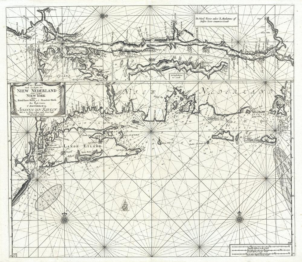 Pas-kaart vande zee kusten van Niew Nederland anders genaamt Niew York tusschen Renselaars Hock en de Staaten Hoek.