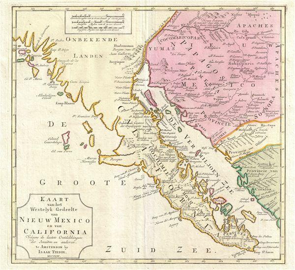 Kaart van het Westelyk Gedeelte van Nieuw Mexico en van California Volgens de Laatste Ontdekkingen der Jesuiten en Anderen.