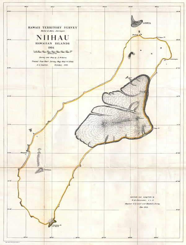 Hawaii Territory Survey, Niihau Hawaiian Islands, 1904.