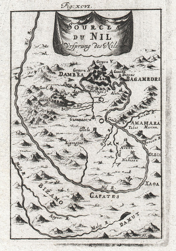 1719 Mallet Map of the Source of the Nile, Ethiopia (Abyssinia)