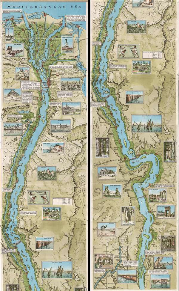 The Nile From Alexandria to Aswan Illustrated Guide-Map.