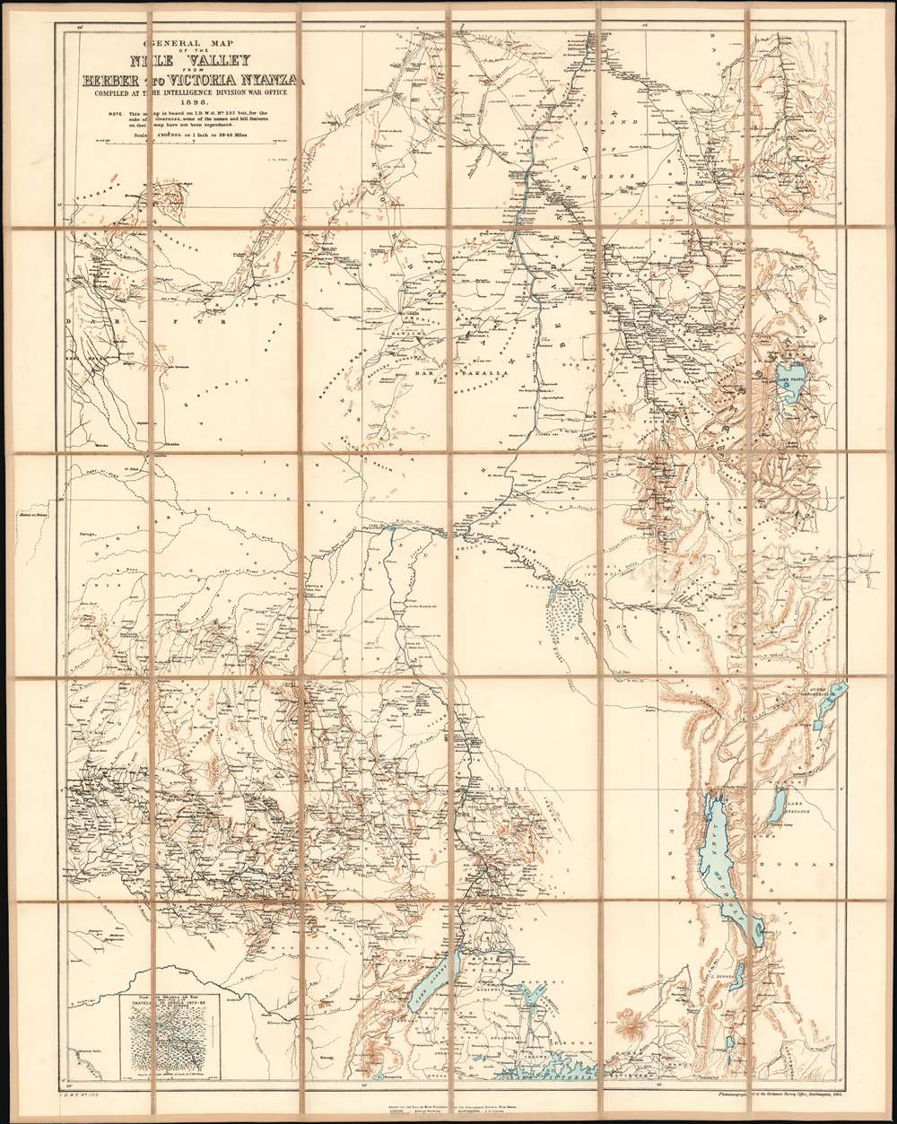General Map of the Nile Valley from Berber to Victoria Nyanza Compiled at the Intelligence Division War Office 1898. - Main View
