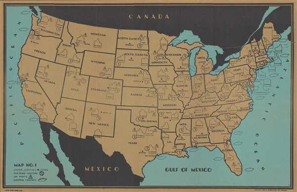 1938 Elms Map of the United States