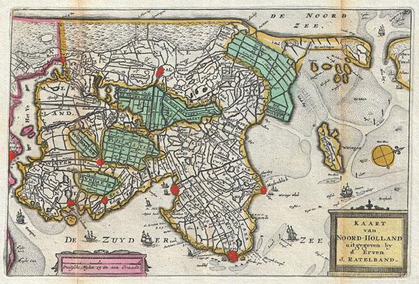 Kaart van Noord-Holland.