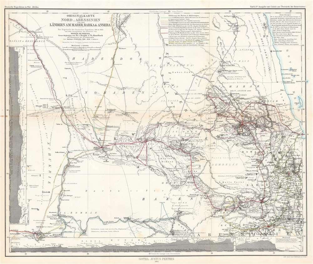 Originalkarte von Nord-Abessinien und den Ländern am Mareb, Barka und Anseba. Tafel 3a. (Ausgabe mit Colorit Übersicht der Reiserouten.) - Main View