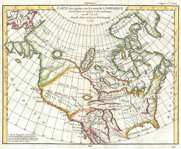 Carte des Parties Nord et Ouest de l'Amerique Dressee d'apres les Relations les Plus Authentiques par M *** en 1764.