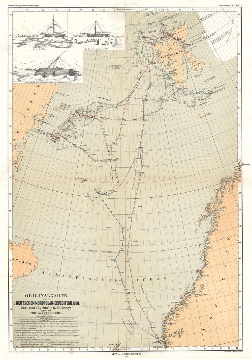 Originalkarte der I. Deutschen Nordpolar-Expedition, 1868. - Main View