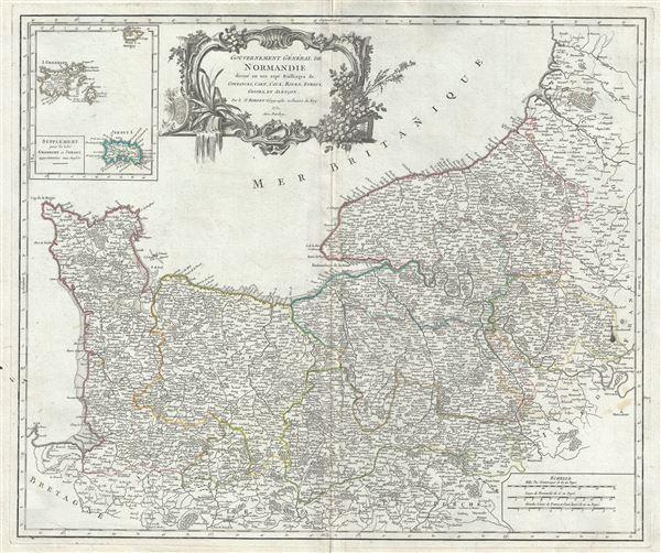 Gouvernement Generale de Normandie divise en ses sept Bailliages de Coutances, Caen, Caux, Rouen, Evreux, Gisors, et Alencon.