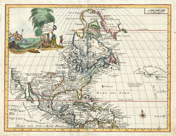 Carta Geografica Dell' America Settentrionale.
