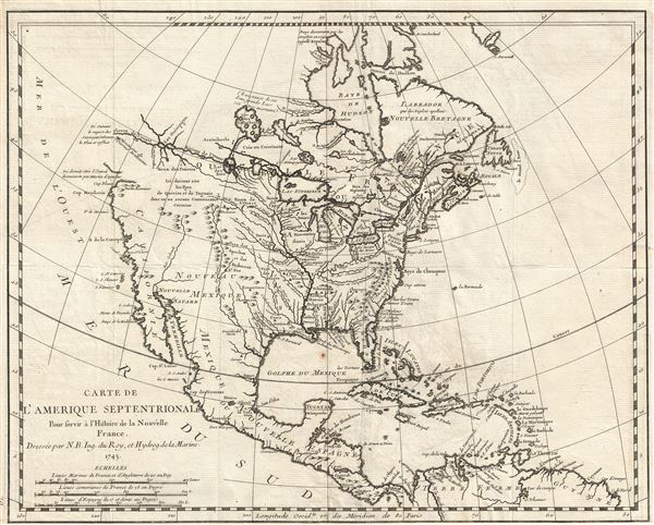 Carte de L'Amerique Septentrionale Pour servir a L'Histoire de la Nouvelle France.