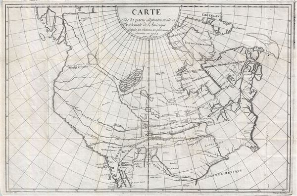 Carte du la Partie Septentrionale et Occidentale de l'Amerique d'apres les relations les plus recentes dresses en 1764 par Mr. ***. - Main View
