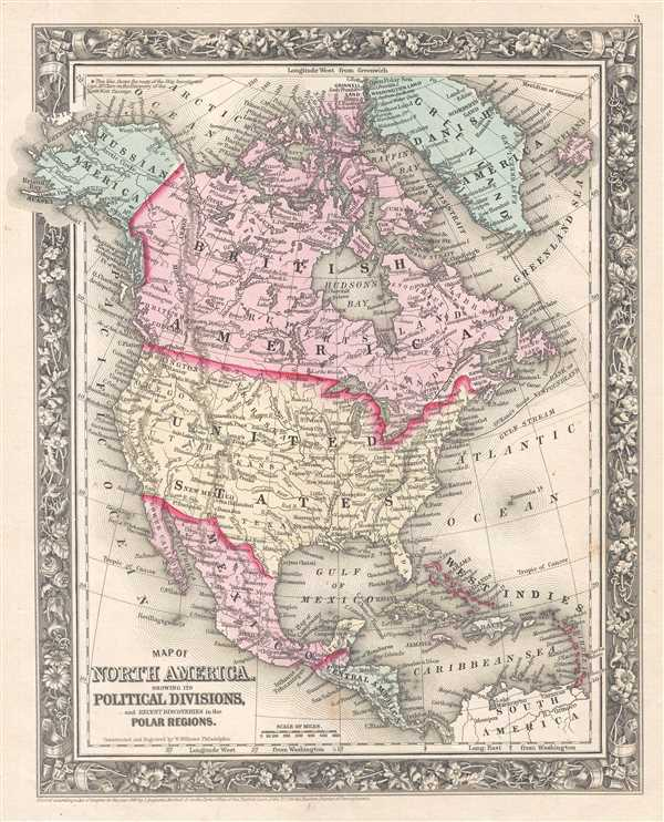 Map of North America. Showing its Political Division, and Recent Discoveries in the Polar Regions.