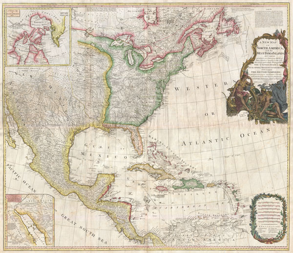 A New Map of North America with the West India Islands, divided according to the Preliminary Articles of Peace, Singed at Versailles, 20, jan 1783, wherein are particularly Distinguished The United States, and the Several Provinces, Governments & ca which Compose the British Dominions, Laid down according to the Latest Surveys, and Corrected from teh Original Materials of Goverr. Pownall, Membr. of Parlimt.